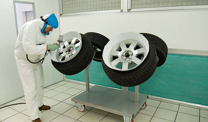 alloy wheel repair trolley