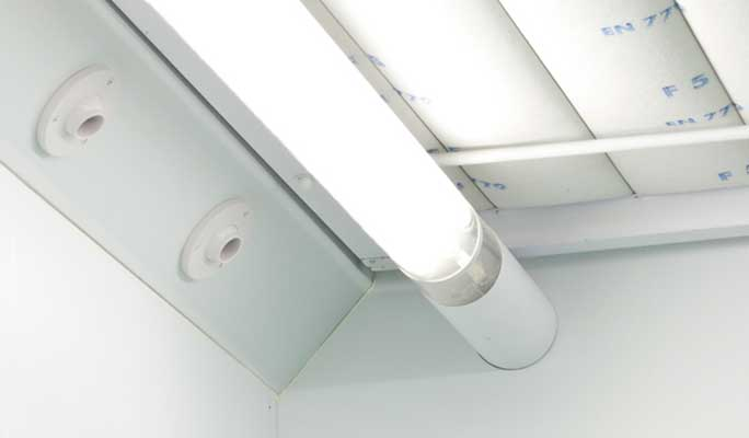 High efficiency, energy saving spraybooth lighting