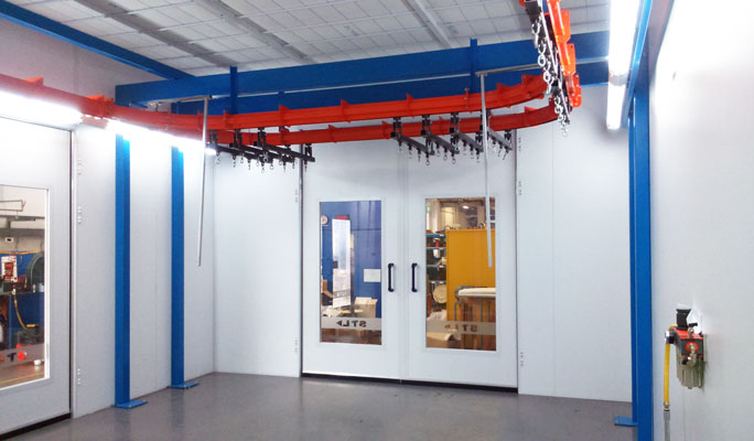 Conveyorised spray systems and coating lines for industrial applications